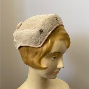 Vintage 50's 60's Fur & Rhinestone Juliet Cap